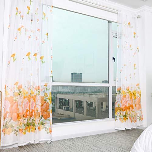 Voile Blumen Stickerei Vorhänge, Ösen transparent Gardine Ösenvorhang Gaze paarig schals Fensterschal für Kinderzimmer Wohnzimmer Fenster Tülle Vorhänge Transparente 100 cm x 200cm (L x W) (Gold)