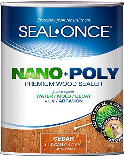 SEAL-ONCE Nano+Poly Ready Mix Penetrating Wood Sealer & Stain with Polyurethane (Cedar) - Water-Based, Low-VOC, Waterproofing for Decks, Fences, siding & Log Homes. … (1 Gallon)