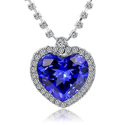 Titanic Heart Of The Ocean Collar, diseño de corazón de cristal azul con brillantes blancos, cadena de aleación bañada den plata