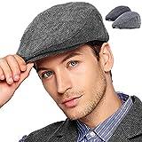 LADYBRO Black+Grey Tweed Flat Cap - Wool Hat for Men Newsboy Cap Ivy Hat Large 2 Pack (1-3,L/XL)