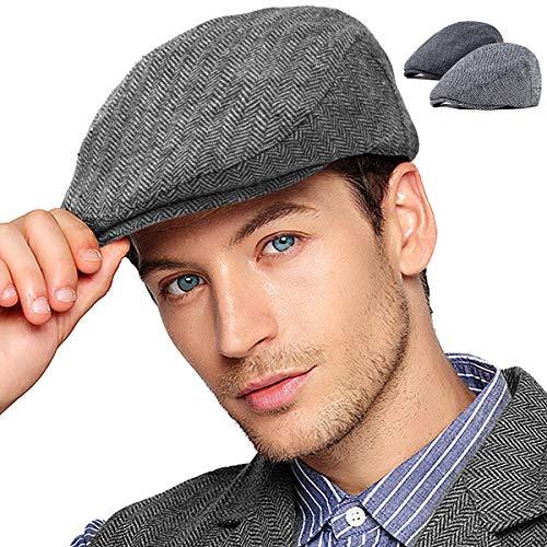LADYBRO Black+Grey Tweed Newsboy Cap - Retro Wool Hat for Men Flat Cap Ivy Hat Cap Golf Hat 2Pack