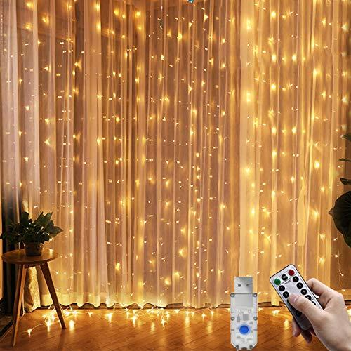 Fenvella Tenda Luci, 3m*3m Tenda Luminosa con 8 Modalitàcon, 300 Led e IP65 Impermeabile Luci Natale Esterno e Interno Adatto a Balcone, Salotto, Giardino,Terrazza.