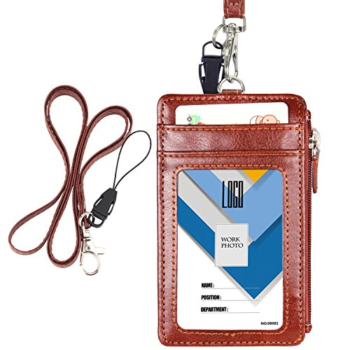 Badge Holder with Zip, Wisdompro 2-Sided Vertical Style PU Leather ID Badge Holder with 1 ID Window, 4 Card Slots, 1 Side Zipper Pocket and 1 Piece 20 Inch Leather Neck Lanyard Strap - Brown