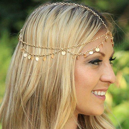 Handmadejewelrylady Metalldiadem in Kettenform für die Frau, Modeschmuck mit Strass, Haarband mit integriertem Haargummi