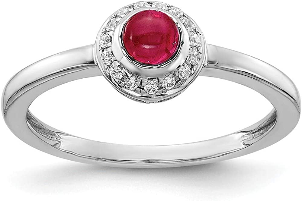Solid 14k White Gold Diamond and Cabachon Ruby Engagement Ring (.075 cttw.)