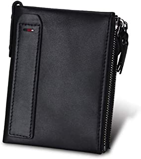 Cowhide Genuine Leather Men's Wallet Leather Short Anti-RFID Stealing Men's Wallet Double Zipper Wallet (Color : Black, Size : S)