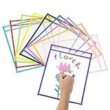 Dry Erase Pockets, Comius Sharp 10 Piezas Fundas Fichas de Papel de Gran Tamaño, Ideal para Uso en...