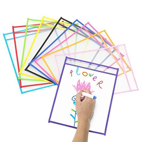 Dry Erase Taschen, Comius Sharp 10 Stück PVC Wiederverwendbare Dry Erase Pockets, Bunte Abwischbare Durchsichtige Hüllen für Klassenzimmer Organisation, 35.5×25.5 cm