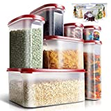 Leadhom Airtight Food Storage Container 7 pieces Set for Kitchen & Pantry with Sealed Bag,for Coffee Sugar and Baking Supplies- BPA-Free-Fresh and Safety Plastic Canisters Storage Container