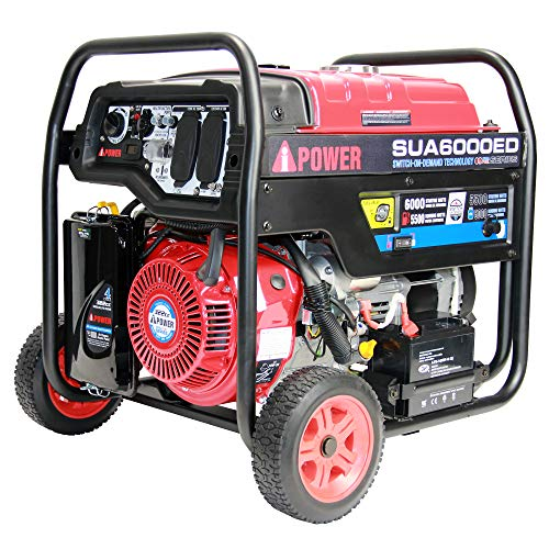 A-iPower SUA6000ED 6000 Watt Portable Generator Gas & Propane Powered With Electric Start, Jobsite, RV, and Home Backup Emergency