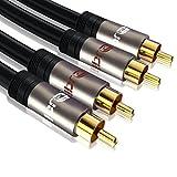 IBRA® 3M 2 RCA Macho a 2 RCA Macho Cine en casa Audio Cable -2RCA A 2 RCA Cable - Gun Range Metal