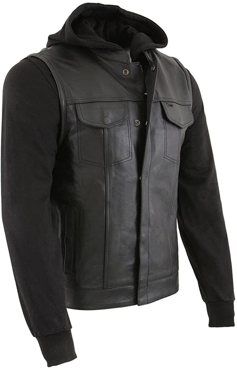 Milwaukee Leather LKM3714 Men's Black Leather Club Style Vest with Full Sleeve Hoodie and Quick Draw Pocket