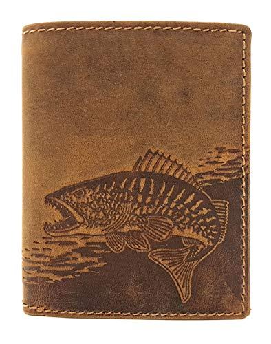 echt Büffel Voll-Leder Geldbörse Anglerbörse, naturbelassenes Hunterleder Portemonnaie mit RFID NFC Schutz Fisch Zander