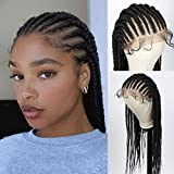 """Beauart 13X6"""" Fully Hand Braided Swiss Lace Front Box Braided Wigs with Baby Hair for Black Women Synthetic Lace Frontal Lightweight Cornrow Twist Braids Wigs (28 inches)"""