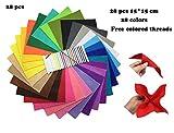 フエルト素材 カット販売 柔らか 1.4MM厚 マスコット アップリケ 布絵本 手芸用 選べるサイズ 28色セット (15cm x 15cm)