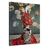 Leinwandbild Claude Monet La Japonaise (Camille im japanischen Kostüm) - 50x60cm hochkant - Wandbild Alte Meister Kunstdruck Bild auf Leinwand Berühmte Gemälde
