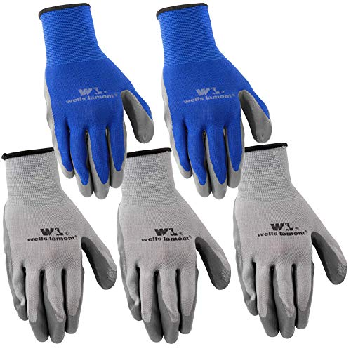 Wells Lamont Nitrile Work Gloves, 5 Pack, Large (580LA),Grey