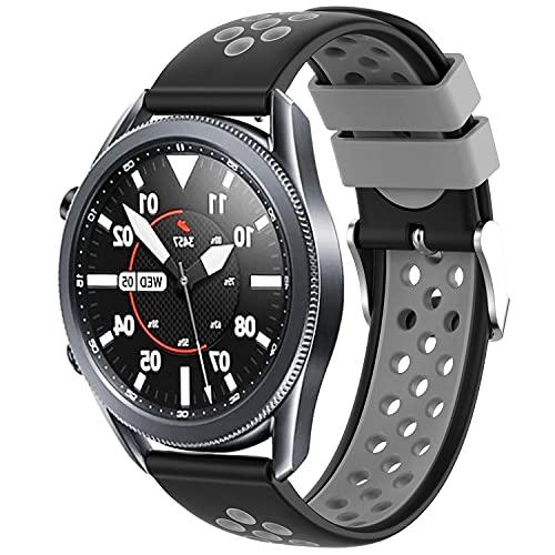 Braleto Cinturino Compatibile con Samsung Galaxy Watch3 45mm, Cinturino di Ricambio Sportivo in Silicone per Galaxy Watch3 45mm / Galaxy Watch 46mm / Gear S3 Frontier/Classic (Nero e Grigio)