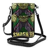 XCNGG Monedero pequeño para teléfono celular Women's Small Crossbody Bag with Shoulder Strap,Smash Hulk Small Cell Phone Purse Wallet with Credit Card Slots