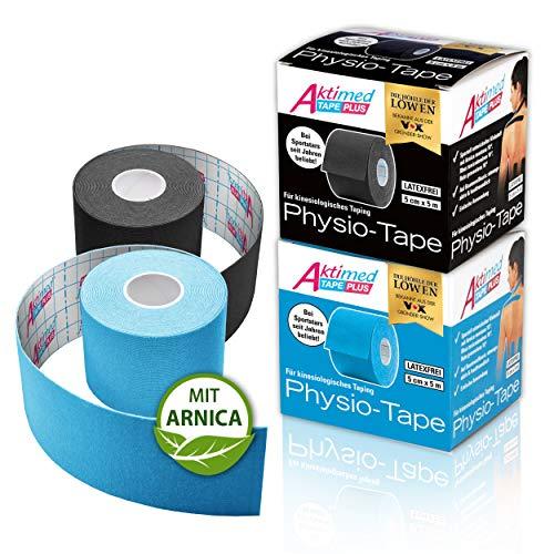 Aktimed Tape plus [2er Set] - Sport Kinesiologie Tape mit integrierten pflanzlichen Extrakten, Patentiertes 2in1 Physio Tape, Designed in Deutschland [Schwarz und Hellblau]