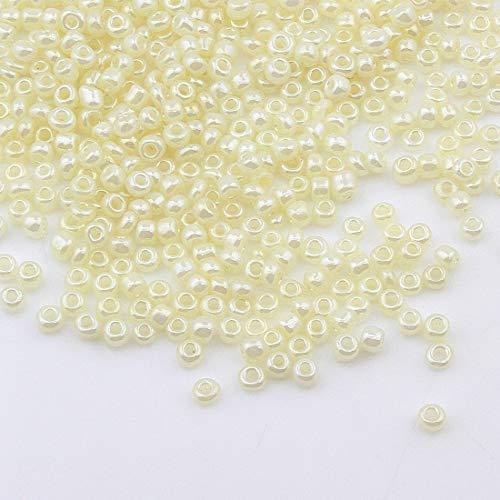 450g Rocailles Perlen 3mm Ceylon Farbe Farbauswahl Set Glasperlen Rund 15000Stk 8/0 Indianerperlen Perlenhäkeln Perlentiere Seed Beads (Krem/Creme)