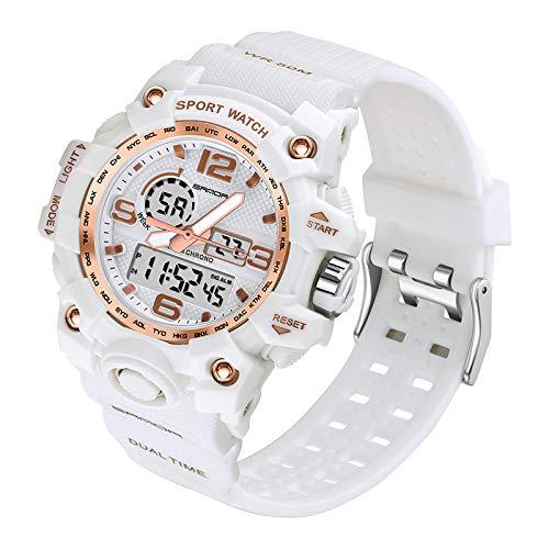 yuge Reloj de mujer de oro rosa blanco de los deportes de moda LED digital reloj de señoras blanco