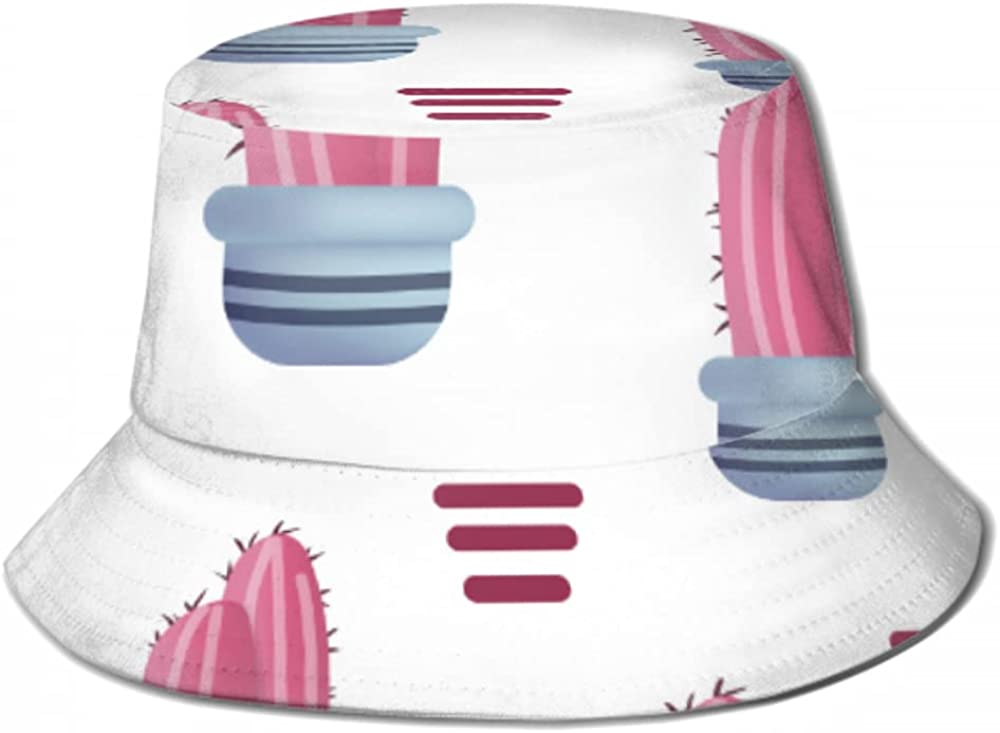 Sun Cap Store Pattern Pink Cactus Pot Hat Men Bucket Isolated Ranking TOP11 for