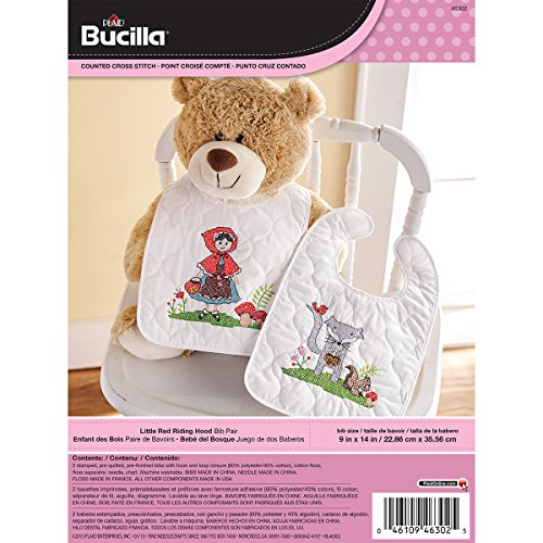 Bucilla Stamped Cross Stitch Bib Pair Kit, 9 by 14-Inch, 46302 Little Red Riding Hood (Set of 2)