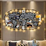 Fleble Metal Large Wall Clock Silent Movement,3D DIY World Map Art Black Clock with LED Light Crafts,Decorative Clock for Living Room,Bedroom,Office,Coffee