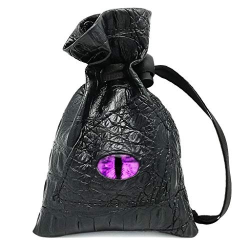 Haxtec Dragon Dice Bag Drawstring Leather DND Dice Pouch Storage Bag for D&D Dices, Coins and Accessories (Purple Eye) Patent Number D893867
