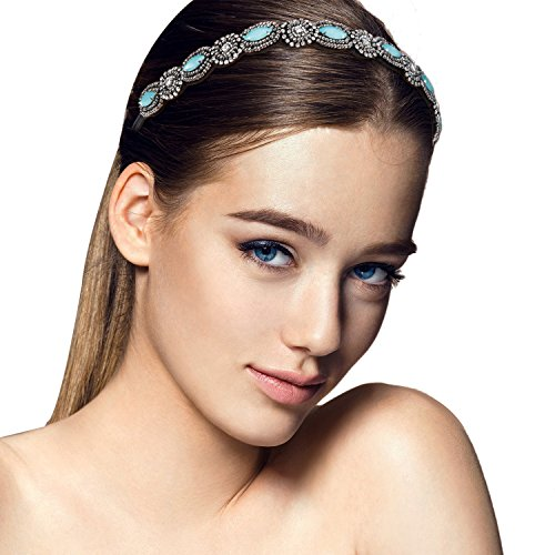 Women Rhinestone Headbands, Zoylink 5PCS Hoop Headband Crystal Rhinestone Hair Bands Wedding Hair Accessories (Multicolor)
