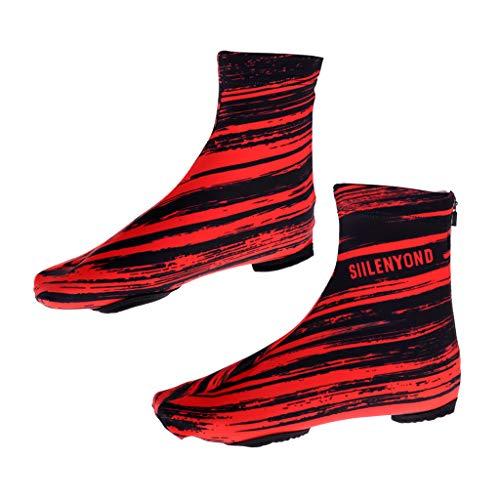 perfeclan Cubiertas Para Zapatos De Bicicleta Cubrebotas De Ciclismo MTB Impermeables A Prueba De Viento Botas De Lana Térmica Cálida Cubiertas - Rojo XL, tal como se describe
