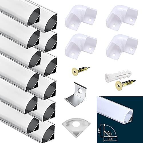 12PCS *1M LED Profil, LED Aluminium Profil V Form mit Abdeckung, Endkappen und Montageclips für LED-Streifen-Lichter,für LED-Streifen