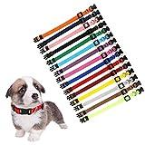 Juego de 15 collares de perro con hebilla de seguridad, nailon suave ajustable para cachorros para mascotas recién nacidas, cuello de 17,5 a 26 cm