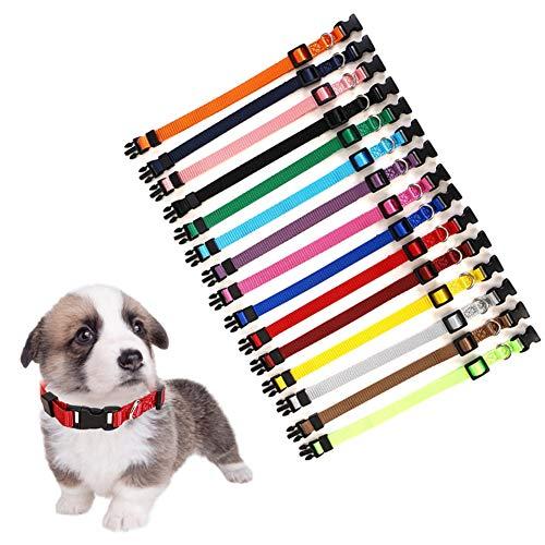 Set di 15 collari identificativi per cuccioli, in morbido nylon, regolabile, per neonati, cuccioli, cani, gatti, collari, collo da 17,5 a 26 cm