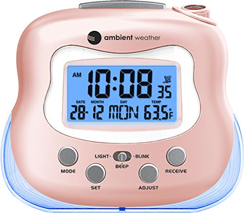 Ambient Weather RC-8370 Radio Controlled Projection Clock with Indoor Temperature, Rose RC-8370-ROSE, Rose Gold