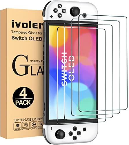 iVoler 4 Pezzi Pellicola Vetro Temperato Compatibile con Nintendo Switch OLED Modello 7 Pollici Modello 2021, Pellicola Protettiva Protezione Schermo Anti Graffio