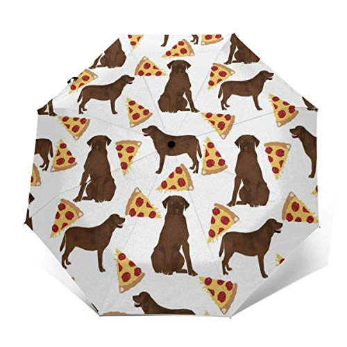 NA lichtgewicht draagbare automatische paraplu's 95% UV-bescherming - chocolade Labrador pizza outdoor paraplu's winddichte paraplu voor bedrijven, reizen of zomer bruiloft geschenken