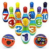 iPlay, iLearn Kids Bowling Toys Set, Toddler Indoor Outdoor Activity Play Game, Soft 10 Foam Pins & Two Balls Playset, Educational, Birthday Party Gift for 18 24 Months, 2 3 Year Old Children Boy Girl