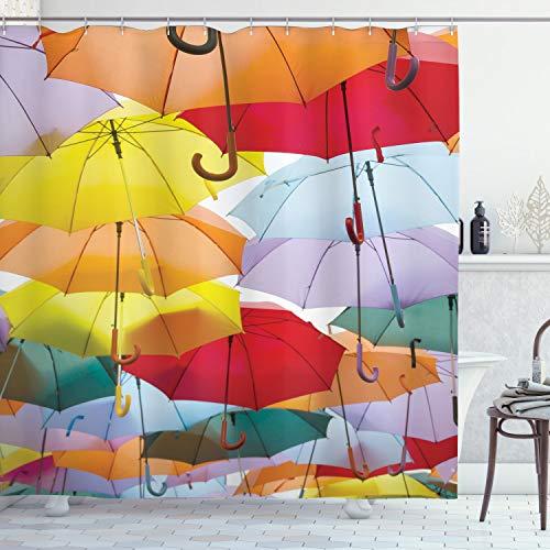 ABAKUHAUS Kleurrijk Douchegordijn, Opgehangen Vivid Paraplu, stoffen badkamerdecoratieset met haakjes, 175 x 200 cm, Veelkleurig