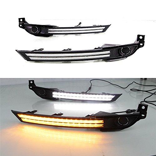 July King LED Tagfahrlicht DRL-M-CX-5-2017-III für CX-5 CX-8 2017 2018 2019 Ohne Nebelscheinwerfer Version, LED Frontstoßstange DRL + Gelb Streamer Blinker Licht