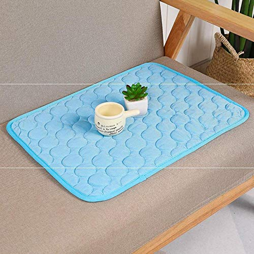 Promworld Pet Summer Sleeping Bed Mat,Summer cat and dog ice pad-blue_62*50cm,Simply clean Pat Mat
