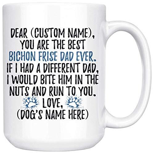 Taza personalizada del papá del perro de Bichon Frise, regalos de los hombres del perro de Bichon Tenerife, taza del papá del perro de Bichon, regalo del presente del propietario de Bichon Frise