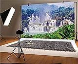 Nature - Fondo de vinilo para fotos de 10 x 6.5 pies, diseño de cascada, hojas tropicales exóticas naturales, para piscina infantil, baby shower, estudio de fotos