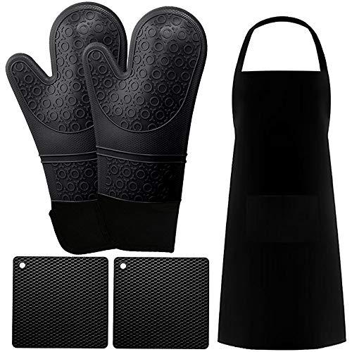 Meijoy Ofenhandschuh Topfhandschuhe Topflappen Silikon ofenhandschuhe Hitzebeständige bis zu 260°C Anti-Rutsch Grillhandschuhe für Kochen Backen(Schwarz)