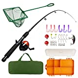 Lanaak Kids Fishing Pole and Tackle Box - with Net, Travel Bag, Reel...