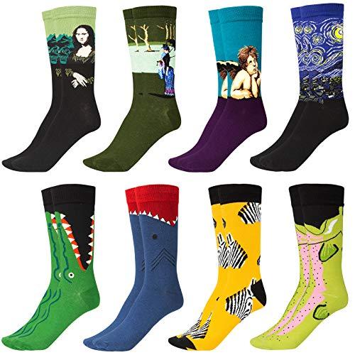 GuKKK Calcetines Estampados, 8 Pares Calcetines Hombres Mujer Divertidos, Calcetines Algodon Estampados Impresos de Pintura de Arte, Ocasionales Calcetines Divertidos, Calcetines de Colores (8-2)
