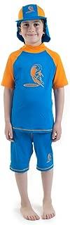 Boys size 2 Blue/Orange Sun Protective Rashguard & shorts SwimSuit Age 2 Years Old