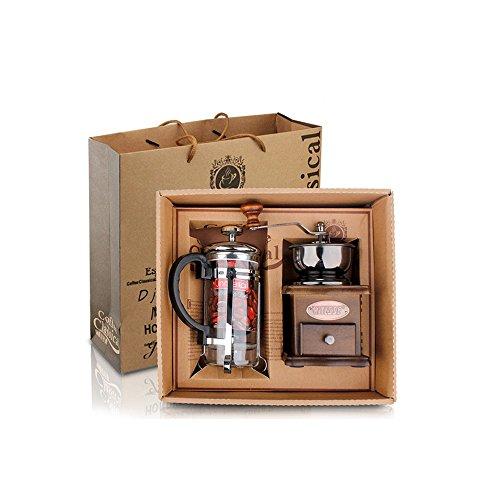 Kuaetily Manuelle Kaffeemühlen Set Tragbar Handkurbel keramikmahlwerk Holz und Metall