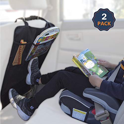 EcoNour Car Seat Kick Mats for Kids | Baby Back Seat Protector and Organizers | 2 Pack - Heavy Duty Premium Mesh Pockets with Waterproof Fabric | Seat Back Kick Protectors for Back of Driver Seat